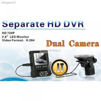 NAUJIENA! VAIZDO registratorius DVR-1000 DUAL su galinio vaizdo kamera