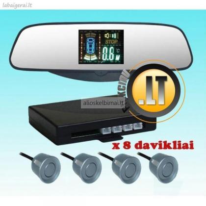 Parkavimosi  sistema  VEIDRODYJE su didelio ryškumo ekranu ir 8 davikliais