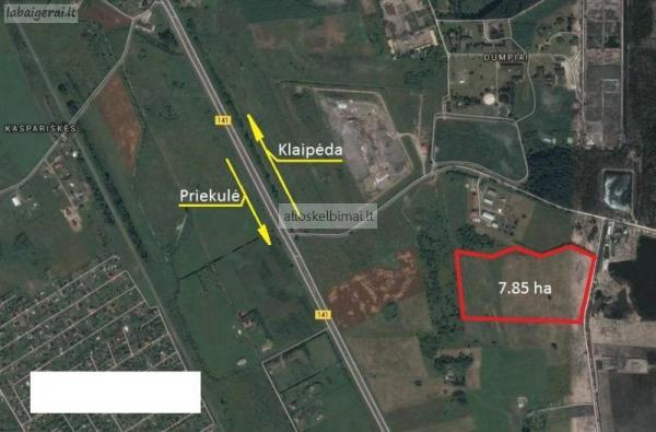 7.85 ha. žemės sklypas netoli Klaipėdos, Dumpiuose-alioskelbimai