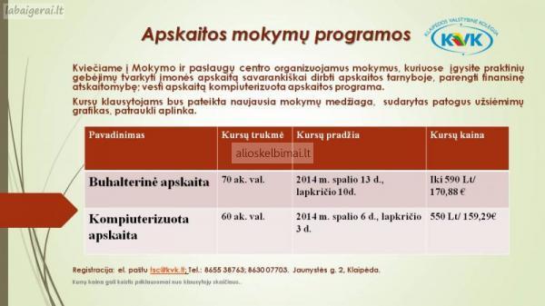 Apskaitos mokymų programos-alioskelbimai