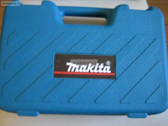 Parduodamas naujas suktuvas-greztuvas Makita su licio baterijomis.