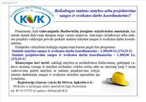 Saugos ir sveikatos  darbe koordinatoriaus kursai