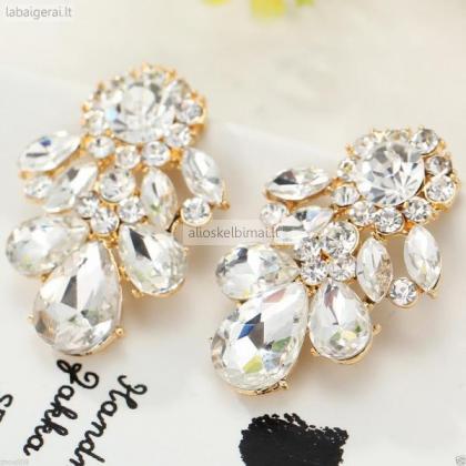 Auksiniai auskarai su kristalais-alioskelbimai