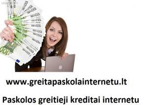 Paskolos internetu visą parą. Greitieji kreditai internetu.