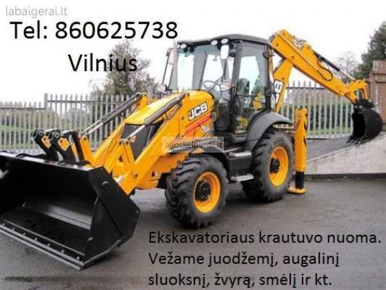 Ekskavatoriaus nuoma, racioko nuoma, traktoriaus nuoma 860625738 Vilnius-alioskelbimai