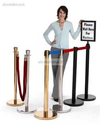 Eilių atitvarai, stoveliai su virvėmis arba juostomis-alioskelbimai